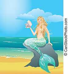 Illustration of a Beautiful mermaid girl with sea shell...