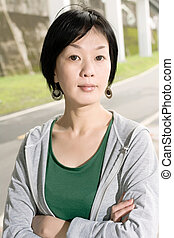 sport mature Asian woman - Portrait of sport mature Asian...