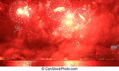 Fireworks over the Istanbul City - View of the Ortakoy...