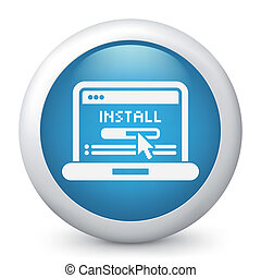 Pc install icon - Icon depicting a software installation on...