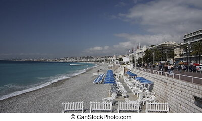 beaches and promenade d'anglais in nice, south of france