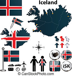Map of Iceland - Vector of Iceland set with detailed country...