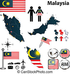 Map of Malaysia - Vector of Malaysia set with detailed...