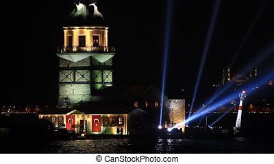 Maidens Tower ligths on - Celebrations in Istanbul. Maiden...