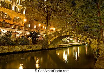 San Antonio Riverwalk - Walking along on San Antonio...