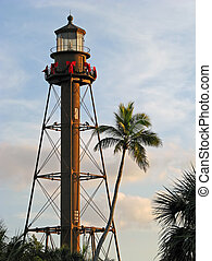 lighthouse - historic lighthouse at dusk Sanibel Island...