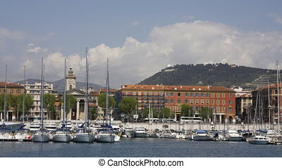 view of nice harbour and skyline, france