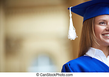 Happy alumna - Close-up of confident graduation student
