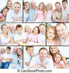 Big family - Collage of senior and young couples with their...