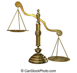 Inequality Scales - An empty gold justice scale with one...
