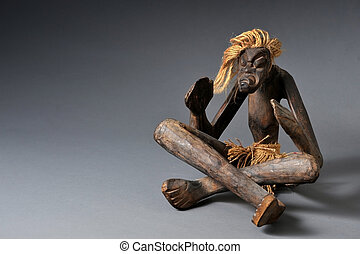 African Art. - Old carved African wooden medican man.