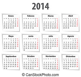 Spanish Calendar for 2014 with shadows Mondays first Vector...