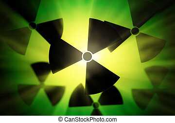 Radioactive sign - Radioactive danger symbol with a shine...