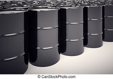 Oil barrels. - A big group of black new oil barrels.