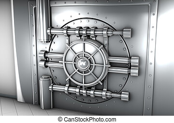 illustration of bank vault door, front view - 3d...
