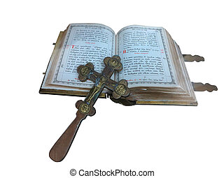 19th Century old bible and cross isolated over white...