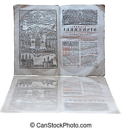 Ancient vintage Bible isolated over white