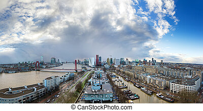 Skyline Rotterdam panorama - Beautiful skyline panorama of...