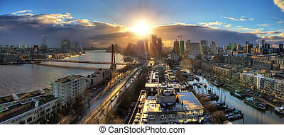 Rotterdam sunset panorama - Beautiful sunset panorama of the...
