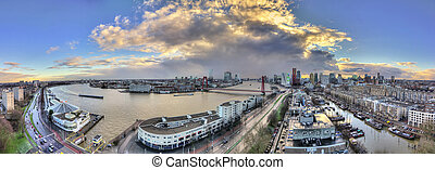 Rotterdam panorama - Beautiful 270 degree panorama of the...