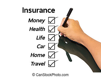 insurance concept - Business man writing insurance concept