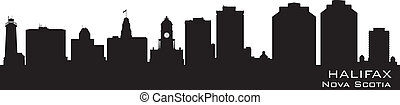Halifax Canada skyline Detailed vector silhouette - Halifax,...
