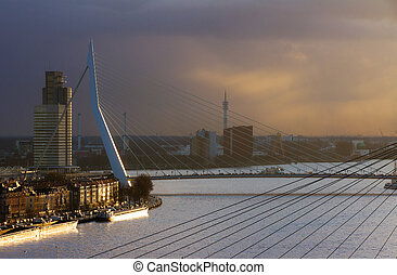 Sunset Erasmus bridge - Beautiful image of the famous...