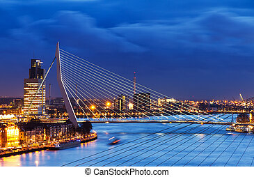 Blue Erasmus bridge - Beautiful image of the famous Erasmus...