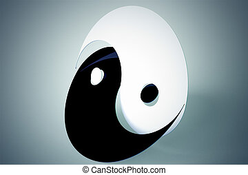 Yin yang symbol - Black and white flat yin yang sign on...