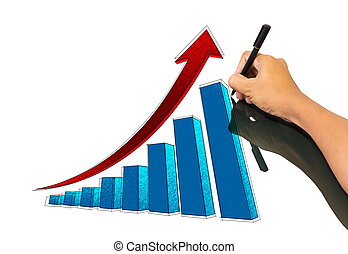 Male hand sketching growth graph