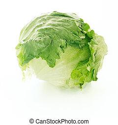 Fresh iceberg lettuce over white background. Crisphead