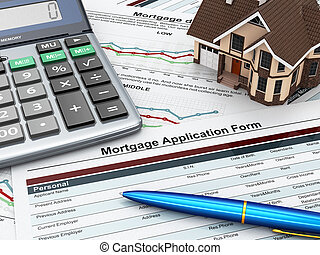 Mortgage application form with a calculator and house. 3d