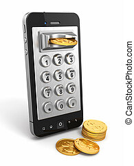 Mobile phone payment Payphone keyboartd and coins 3d