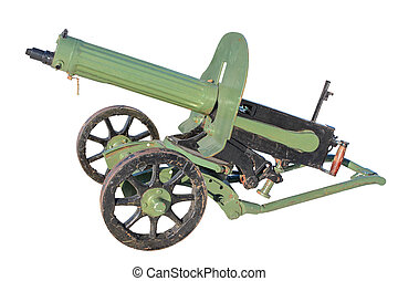 Maxim gun of the early twentieth century, isolated on a...