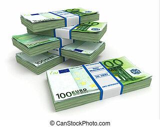 Packs of euro on white background.