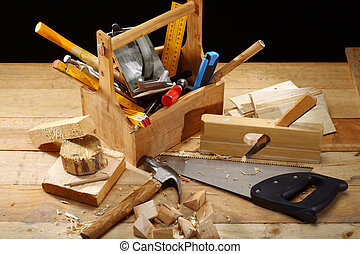 carpenters tools - carpenters tool on a workbench