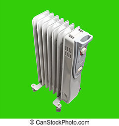 oil electric heater Isolated on green background with clipping path
