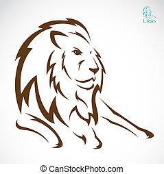 vector, imagen, león
