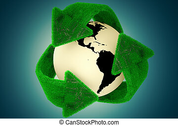 Recycle Earth - 3D Rendering of Earth surrounded by the...