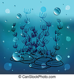 Aquatic plant cartoon on glass and water dropEPS10