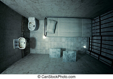 Prison cell - Top view of locked old prison cell for one...