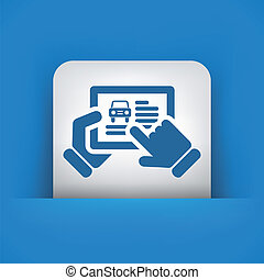 site web, voiture, tablette, icône