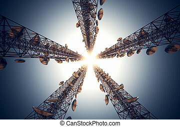 Communication towers. - Five tall telecommunication towers...