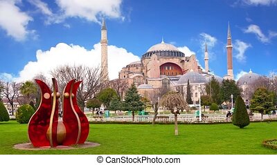 Hagia Sophia. Timelapse - Hagia Sophia under sliding spring...