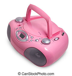 pink mp3 stereo cd radio cassette recorder isolated on a...