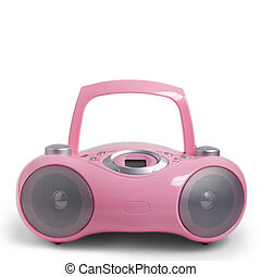 pink stereo radio cd mp3 cassette recorder is isolated