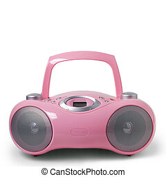 Pink stereo CD mp3 radio cassette recorder isolated