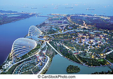 aerial view of marina bay, singapore showing gardens by the...