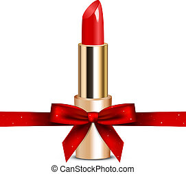 red lipstick with ribbon - Vector illustration of red...