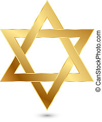 golden Magen David star of David - Vector illustration of...